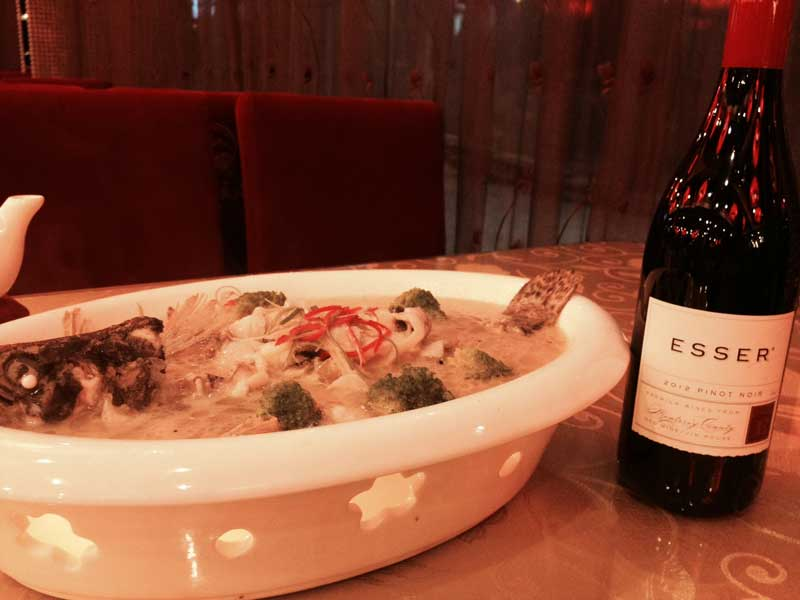 Steamed fish in ginger sauce with Esser Pinot Noir
