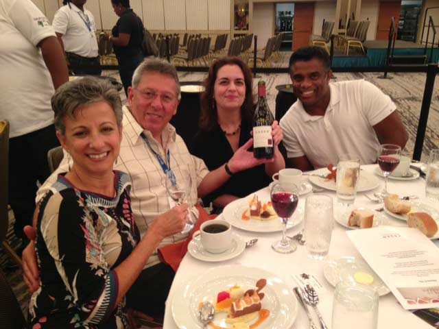Esser Pinot Noir served at the Taste of the Caribbean competition luncheon being enjoyed by Libby Grimes, Earl Myers, Lisette Morales and Rohan Thompson of Carisam/Samuel Meisel