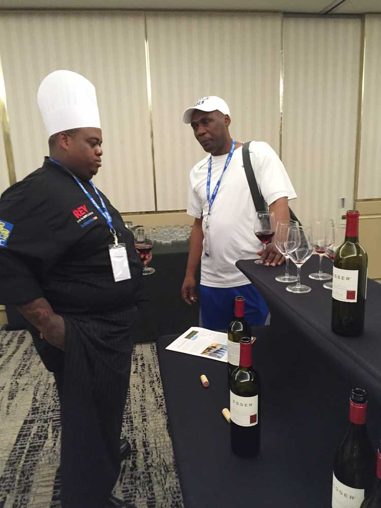 Two of the leading chefs enjoy some Esser wines with the black Angus Beef at the American Beef Council Seminar