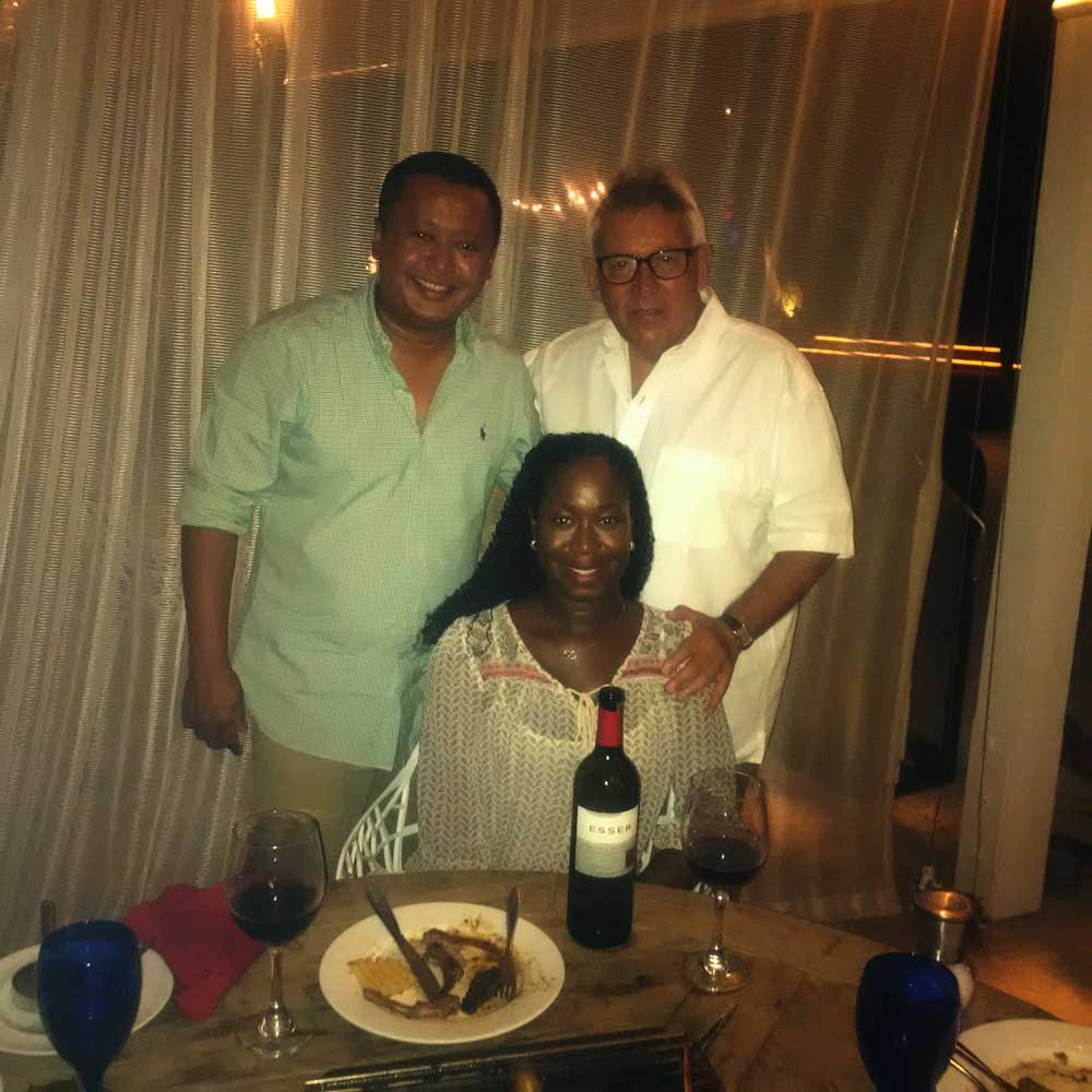 Murad Mohammed, sales mgr, Jena Messam, sales representative, Wine Cellars and yours truly enjoying Esser Cabernet at Blue Haven Resort